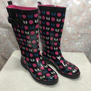 CAPELLI New York Shiny Skull/Dots Rain Boots Sz.10